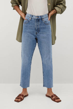 cropped high waist straight fit jeans light denim