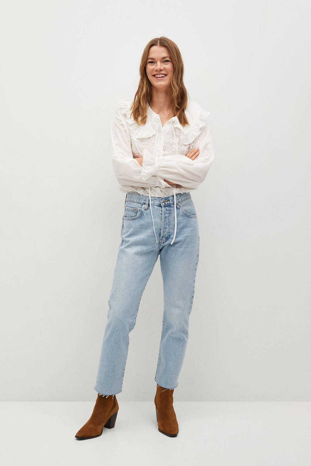 Mango cropped straight fit jeans light blue, Light Blue