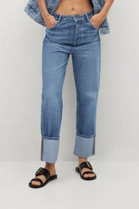 Mango cropped high waist loose fit jeans blauw, Blauw