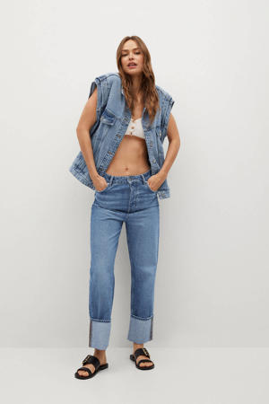 cropped high waist loose fit jeans blauw