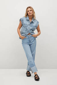 Mango cropped high waist loose fit jeans light denim, Light denim