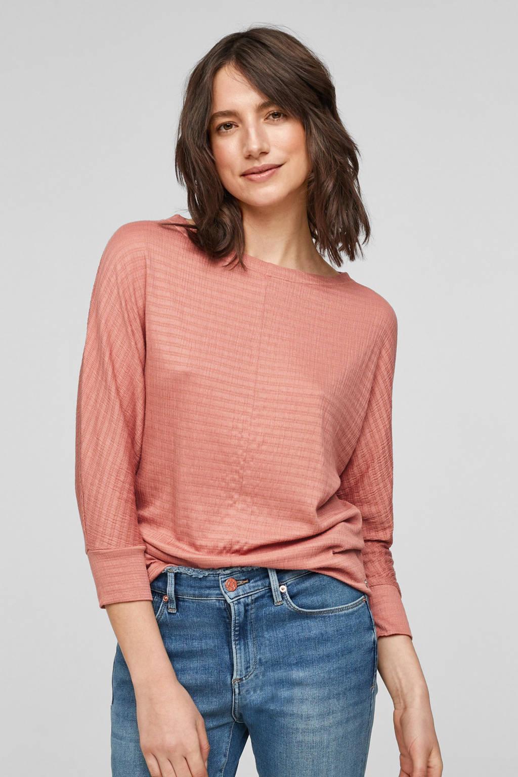 s.Oliver gestreept fijngebreid T-shirt roze, Roze