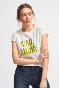 comma T-shirt met tekst wit, Wit