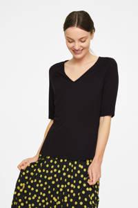 comma basic T-shirt met plooien zwart, Zwart