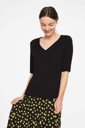 basic T-shirt met plooien zwart