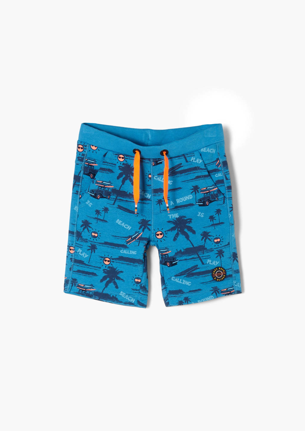 s.Oliver regular fit sweatshort met all over print blauw, Blauw