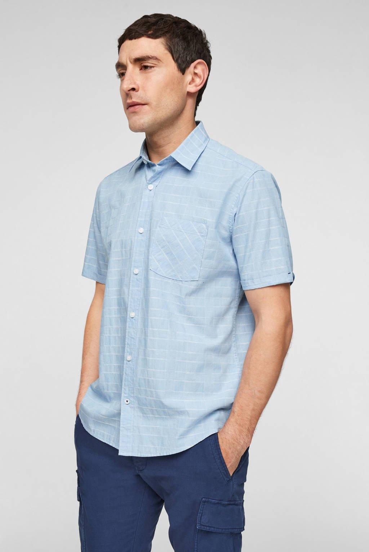 s.Oliver geruit slim fit overhemd lichtblauw, Lichtblauw