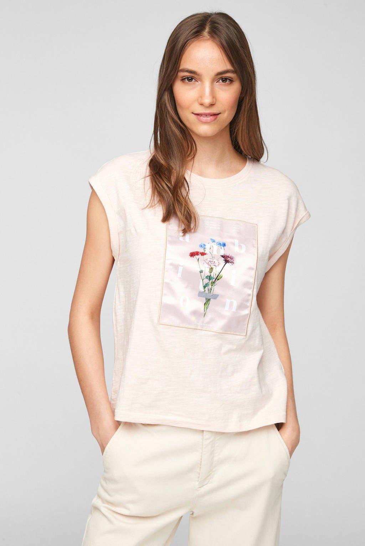 s.Oliver fijngebreid T-shirt met printopdruk lichtroze, Lichtroze