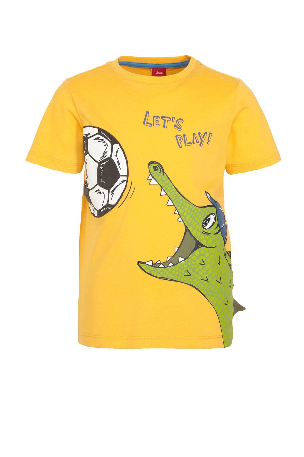 s.Oliver T-shirt met dierenprint geel/groen, Geel/groen