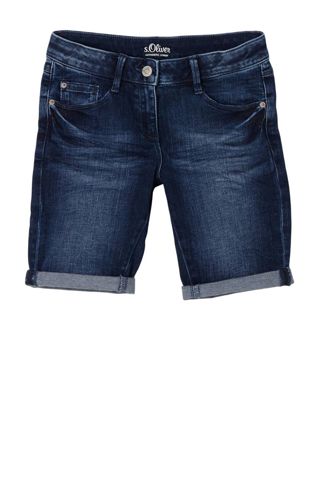 s.Oliver slim fit jeans short blauw, Blauw