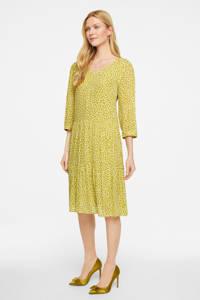 comma trapeze jurk met all over print en plooien geel, Geel