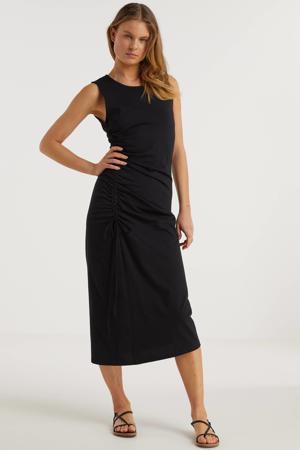 jurk met rijgdetail zwart