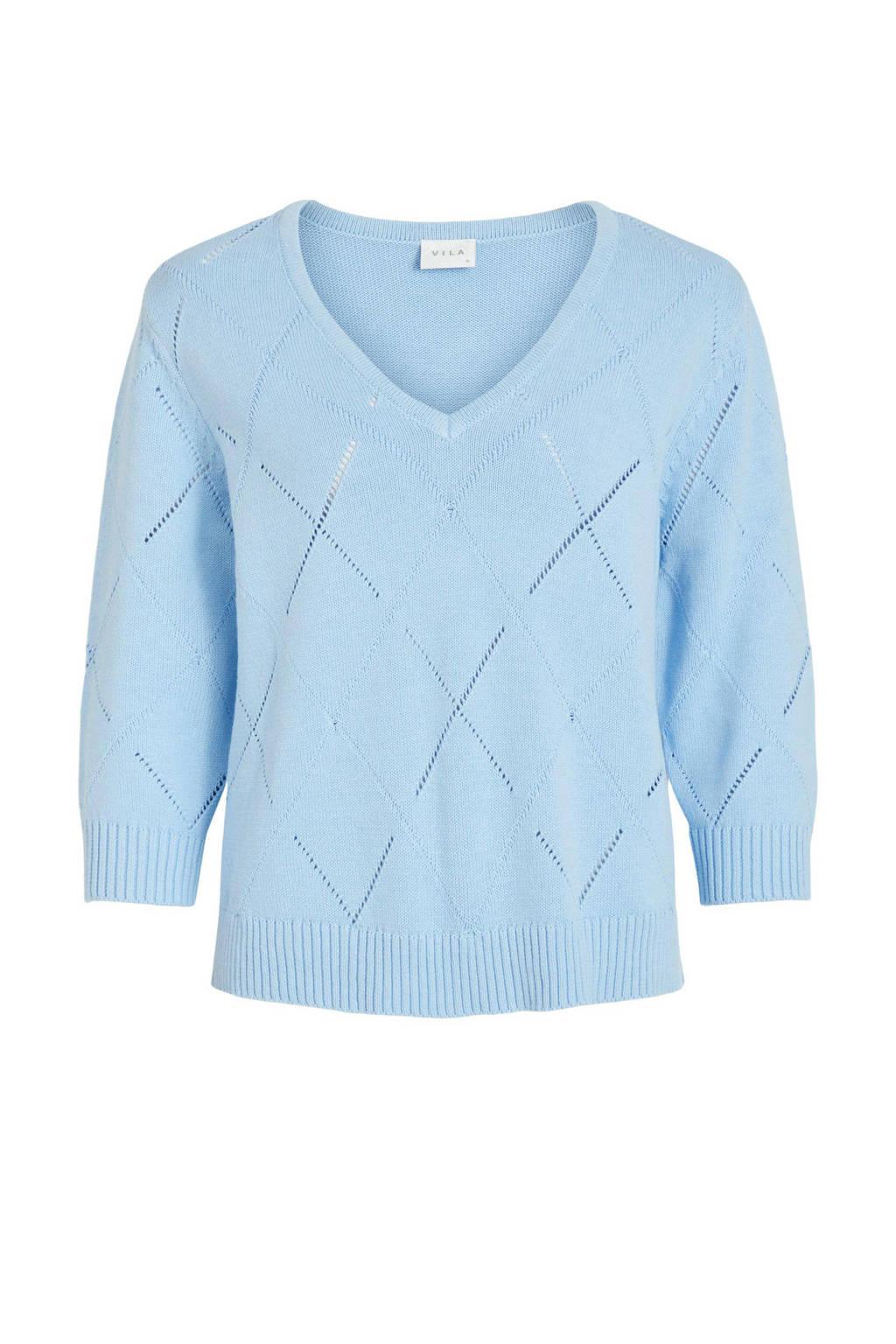 VILA trui VILAVISTA van biologisch katoen lichtblauw, Lichtblauw