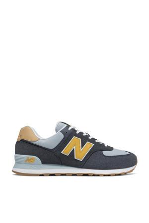 574  sneakers donkerblauw/geel