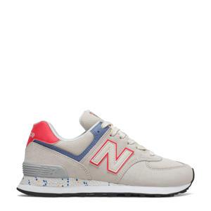 574  sneakers beige/koraalrood/blauw