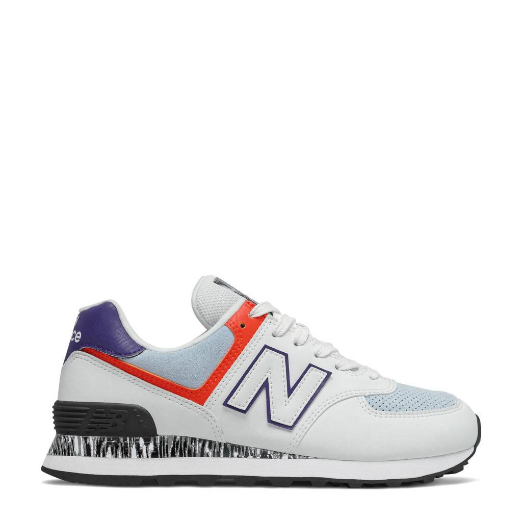 New Balance 574  sneakers wit/rood/blauw, Wit/blauw/koraalrood