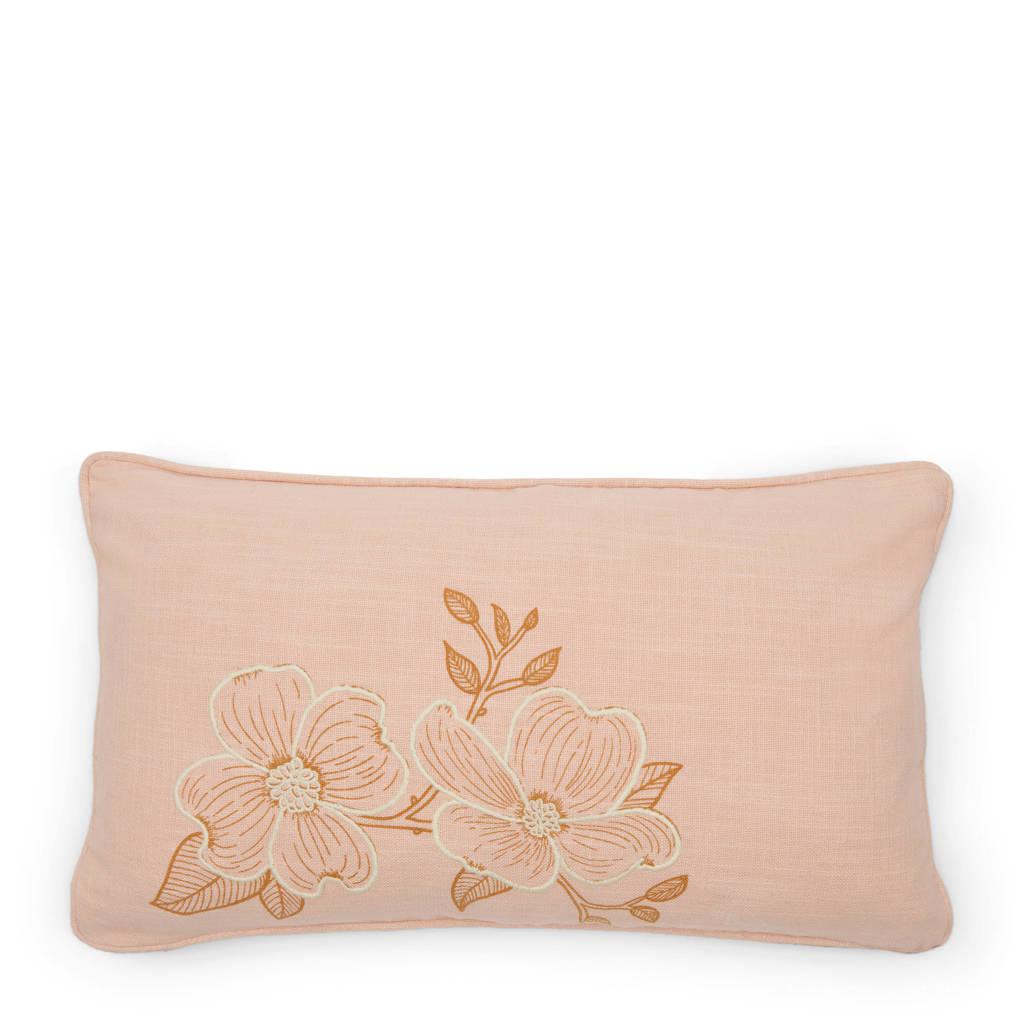 Riviera Maison sierkussenhoes Fleurs  (50x30 cm), Roze