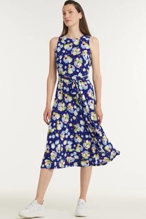 maxi jurk met all over print en ceintuur blauw