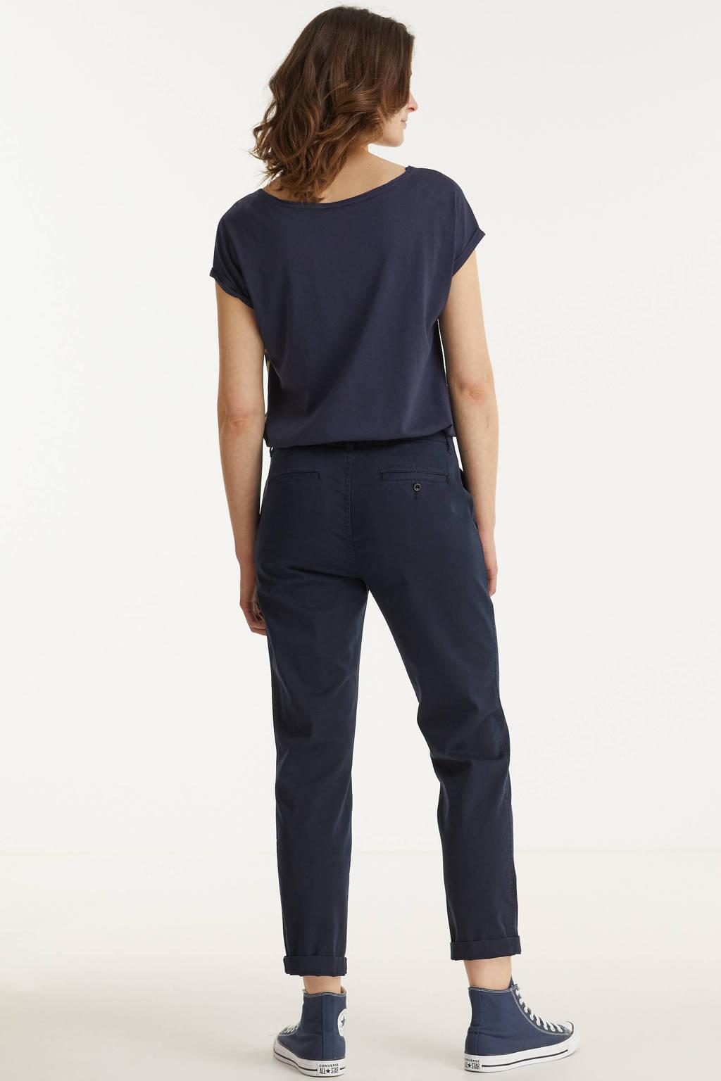 Lauren Ralph Lauren cropped tapered fit broek GABBY donkerblauw, Donkerblauw