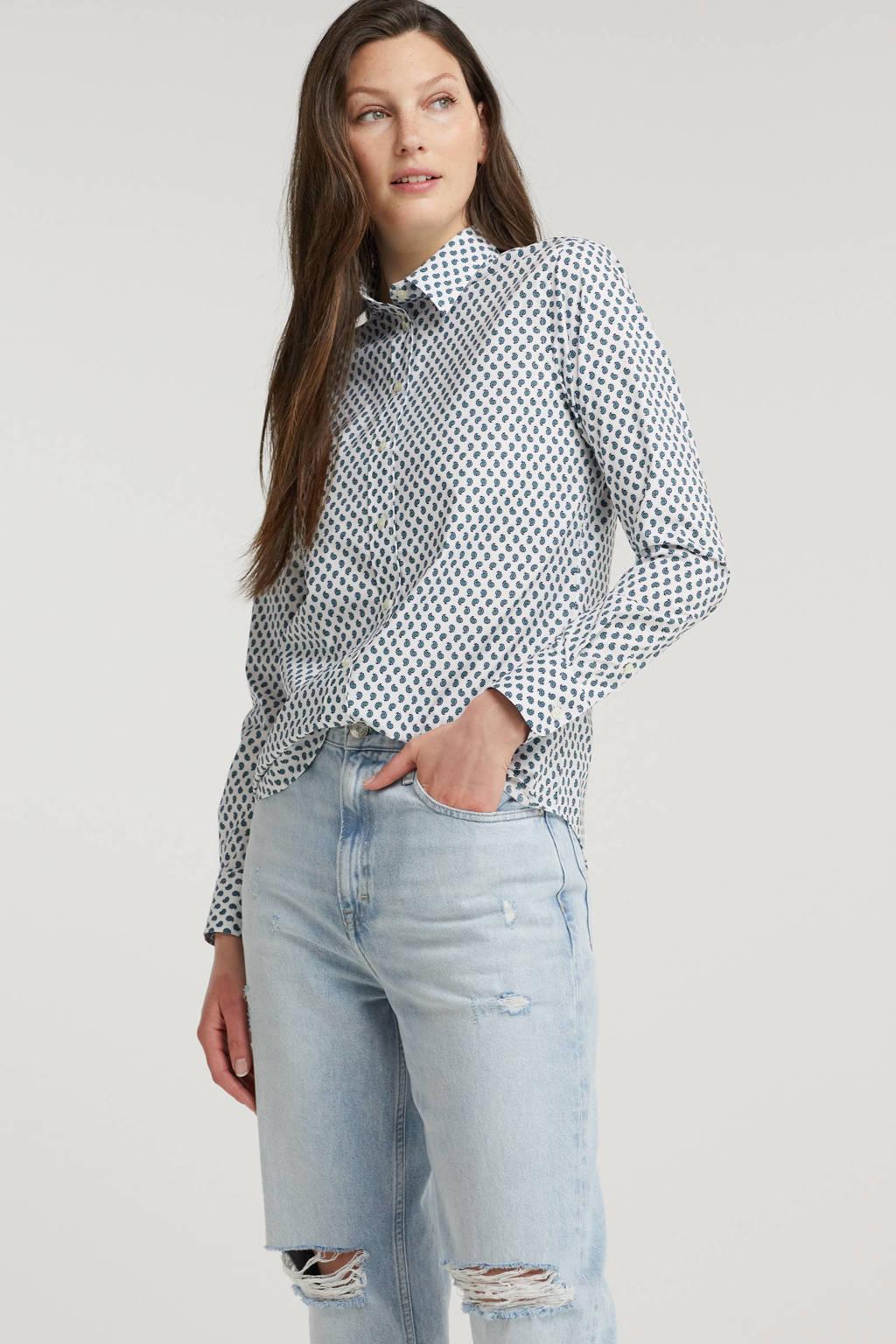 Lauren Ralph Lauren gestreepte blouse lichtblauw/wit, Wit