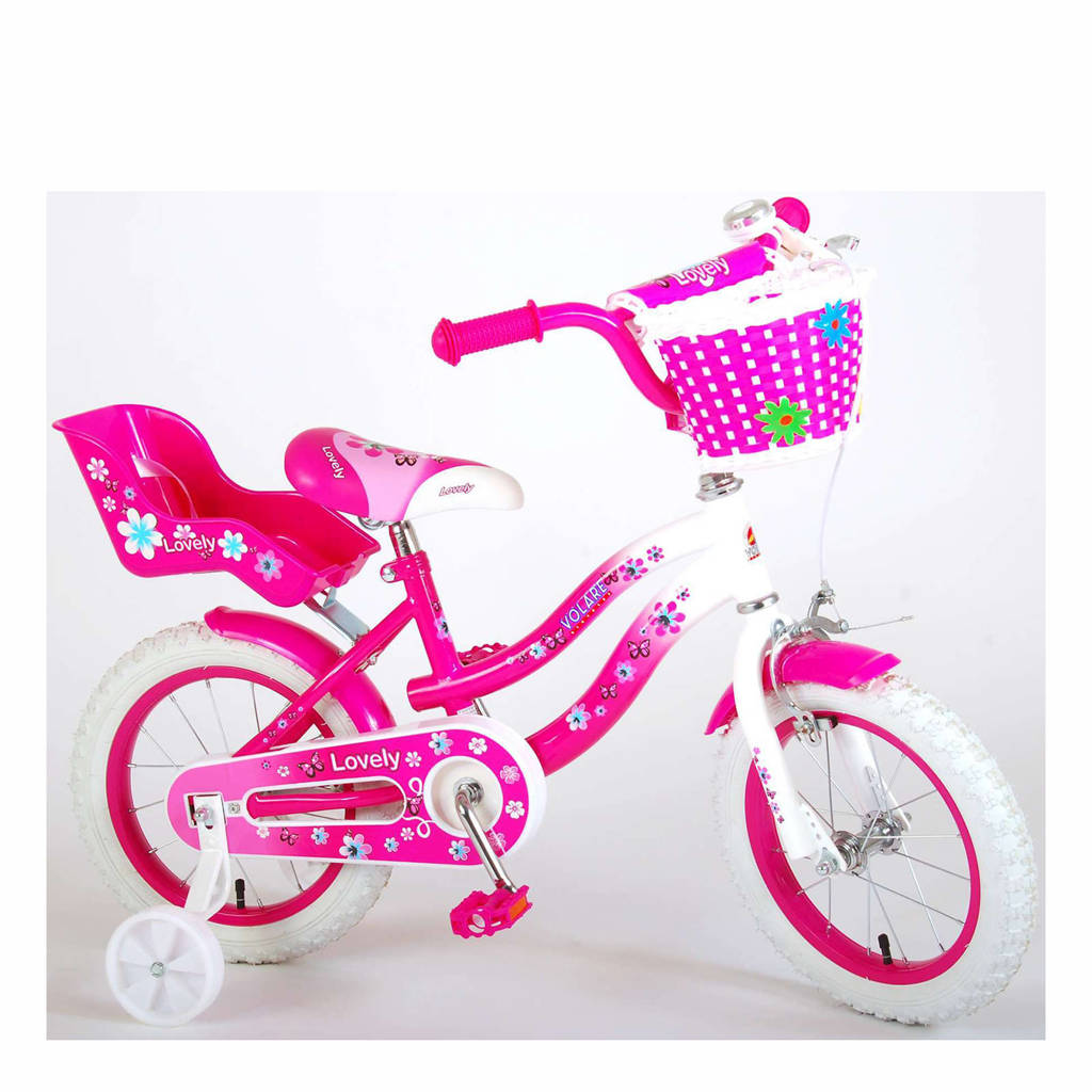 Volare Lovely kinderfiets 14 inch Roze / Wit kinderfiets 14 inch, roze / wit