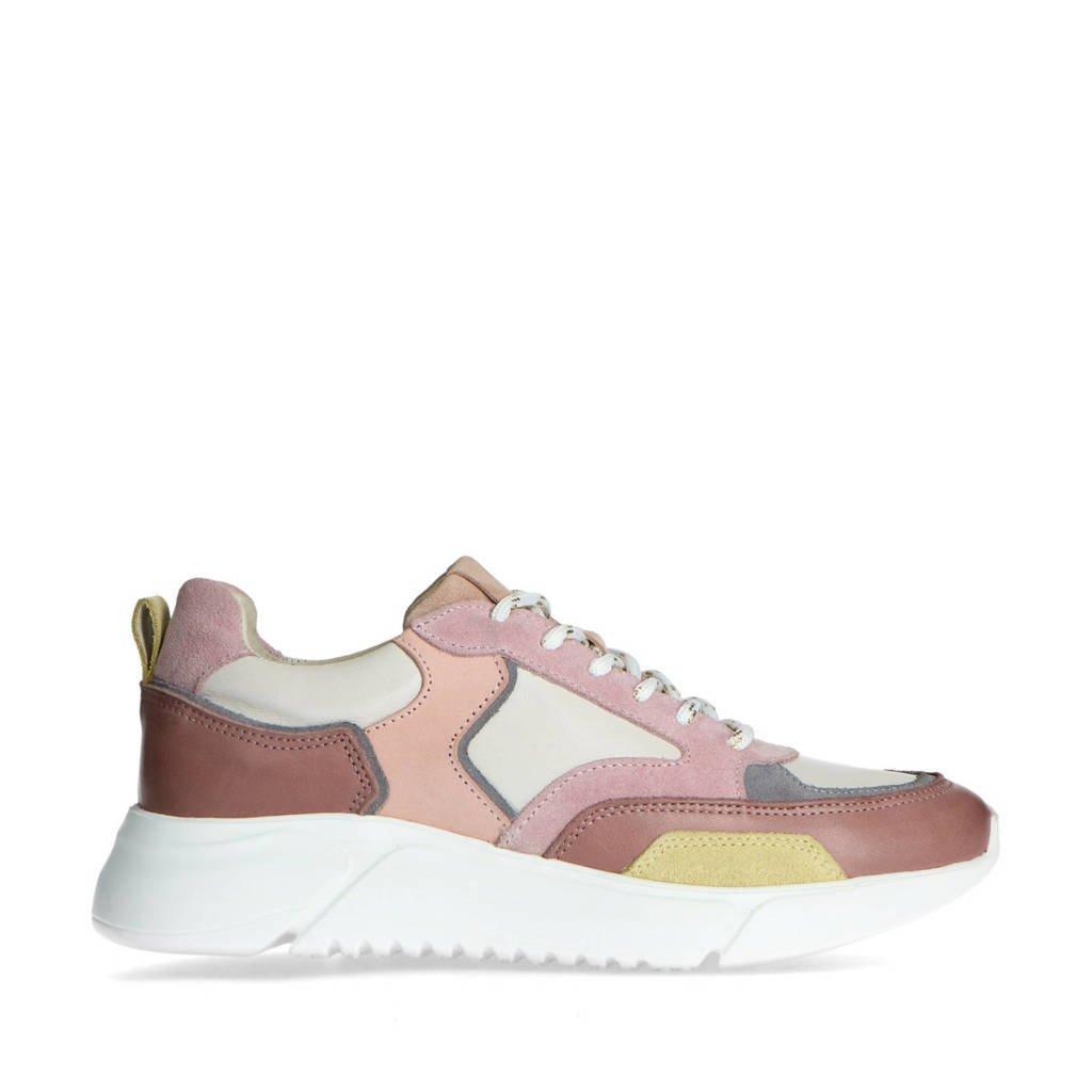 Mrs Keizer by Manfield   leren chunky sneakers roze/multi, Roze/multi