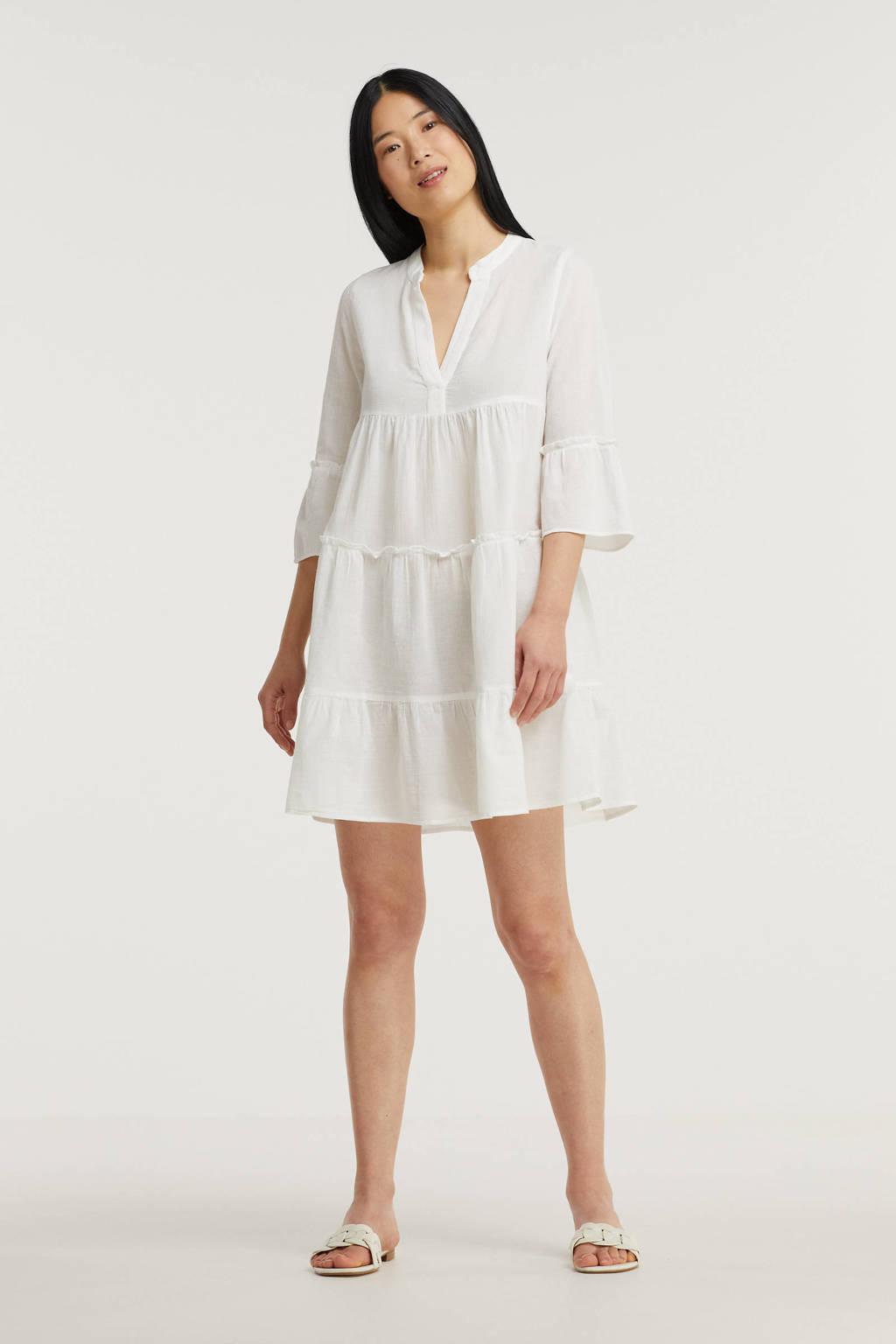 VERO MODA gestreepte jurk van biologisch katoen wit, Wit