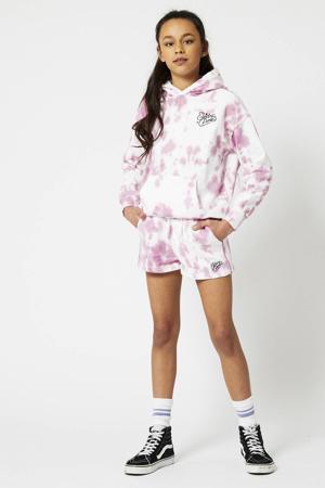 tie-dyeregular fit sweatshort Nea van biologisch katoen roze/wit