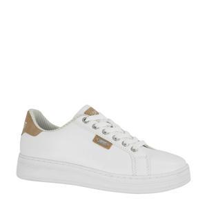 plateau sneakers wit/bruin