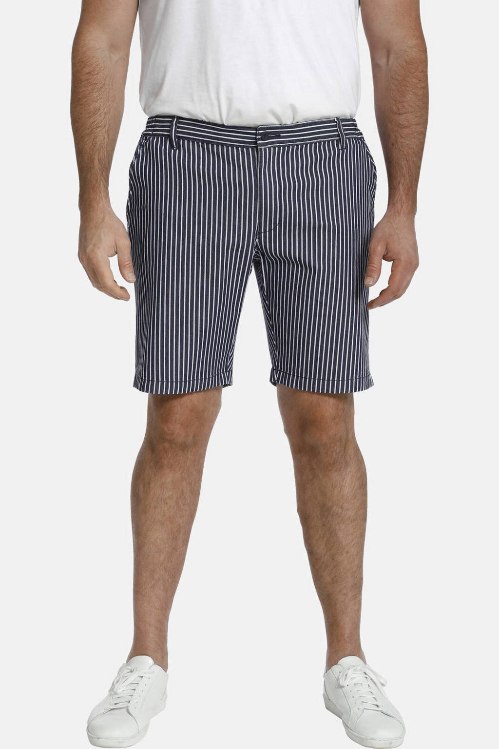 Charles Colby gestreepte loose fit short BARON IKE Plus Size blauw/wit, Blauw/wit