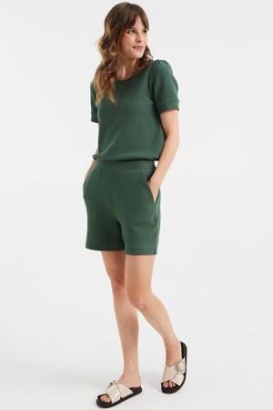 wide leg sweatshort met textuur groen
