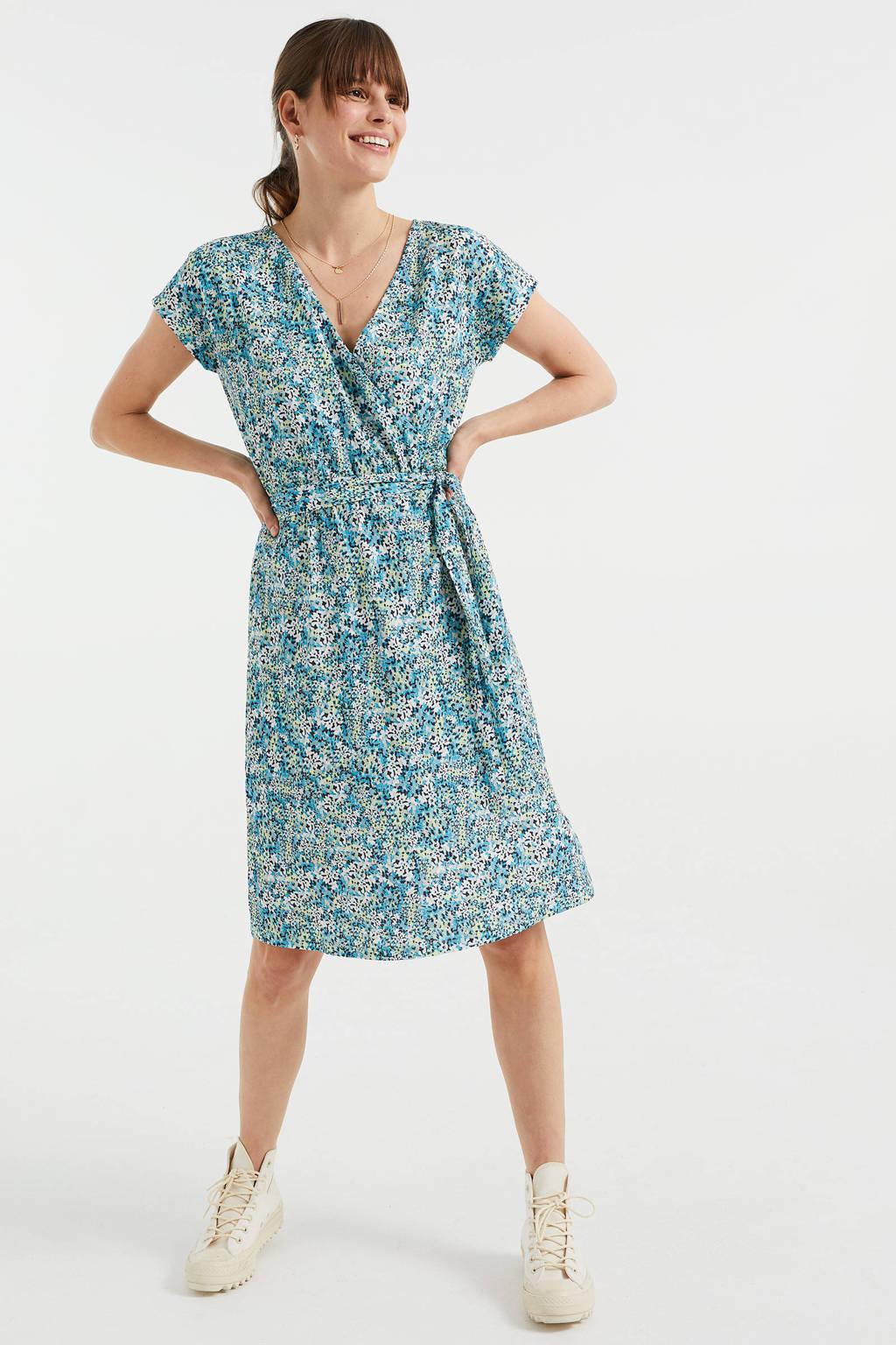 WE Fashion wikkeljurk van gerecycled polyester blauw/mintgroen, Blauw/mintgroen