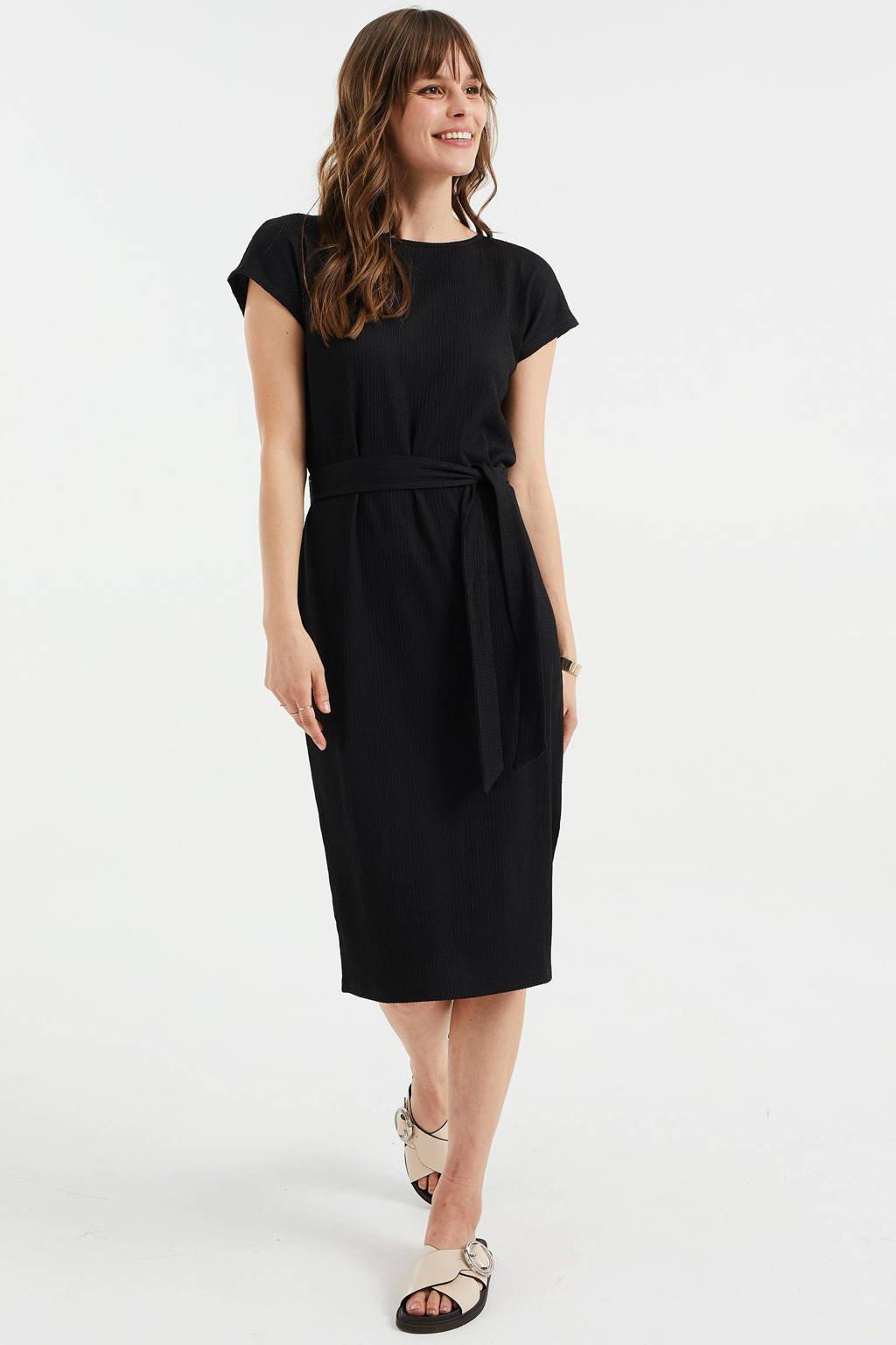 WE Fashion jurk van gerecycled polyester zwart, Zwart