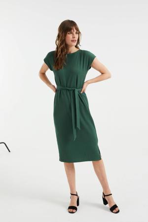 jurk van gerecycled polyester donkergroen