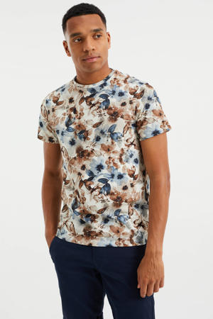 slim fit T-shirt met bloemenprint multi