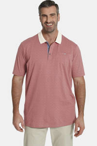 Charles Colby loose fit polo Earl Mike Plus Size met all over print oudroze/ecru