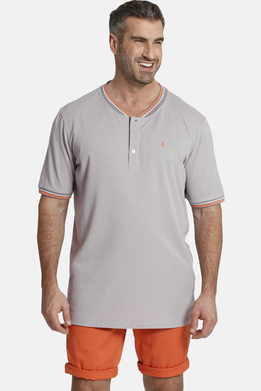 Charles Colby T-shirt Earl Maroon Plus Size met contrastbies grijs, Grijs