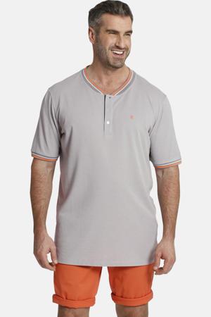 T-shirt Earl Maroon Plus Size met contrastbies grijs