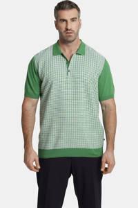 Charles Colby fijngebreide loose fit polo Earl Safat Plus Size groen/wit, Groen/wit