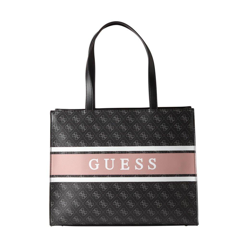 GUESS  shopper Monique zwart/lichtroze, Zwart/lichtroze