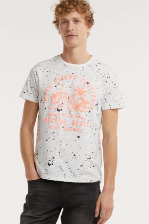 T-shirt van biologisch katoen wit/oranje