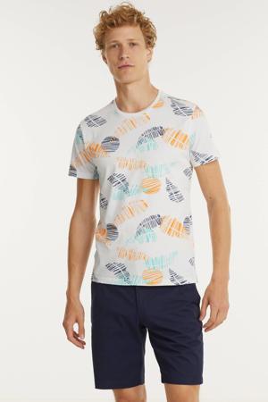 T-shirt met all over print lichtgeel