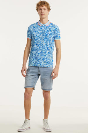 regular fit polo met all over print lichtblauw