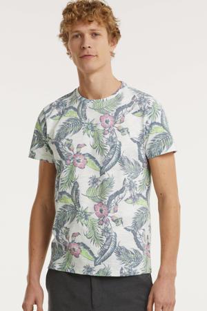 T-shirt met all over print wit/blauw/roze