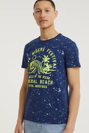 T-shirt van biologisch katoen donkerblauw/geel
