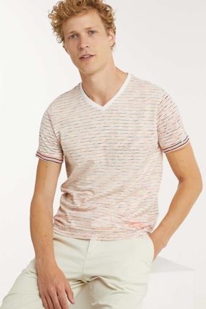 gestreept T-shirt oranje/ecru