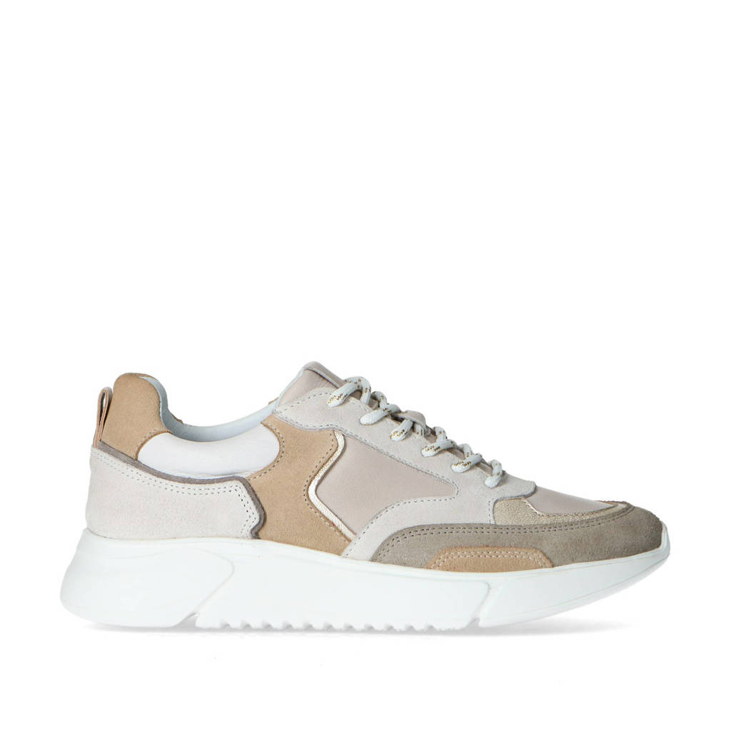 Mrs Keizer by Manfield   leren chunky sneakers taupe/multi, Taupe