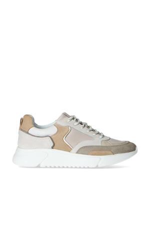 leren chunky sneakers taupe/multi