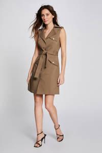 Morgan A-lijn jurk met ceintuur kaki, Kaki