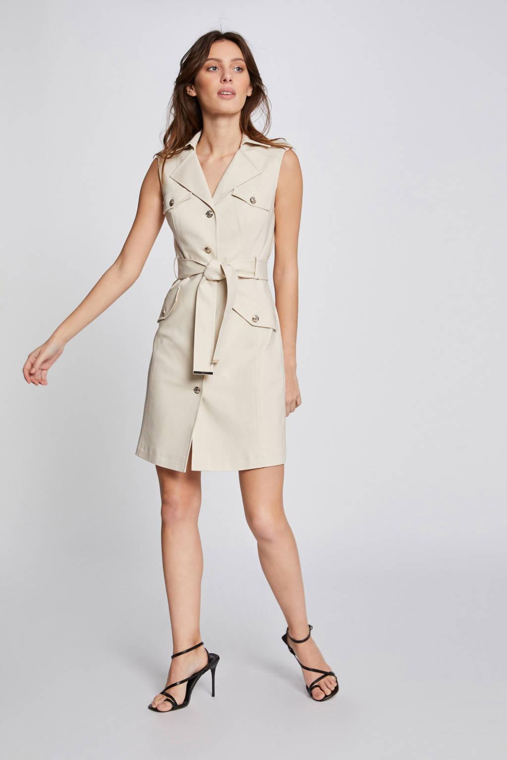 Morgan A-lijn jurk met ceintuur beige, Beige